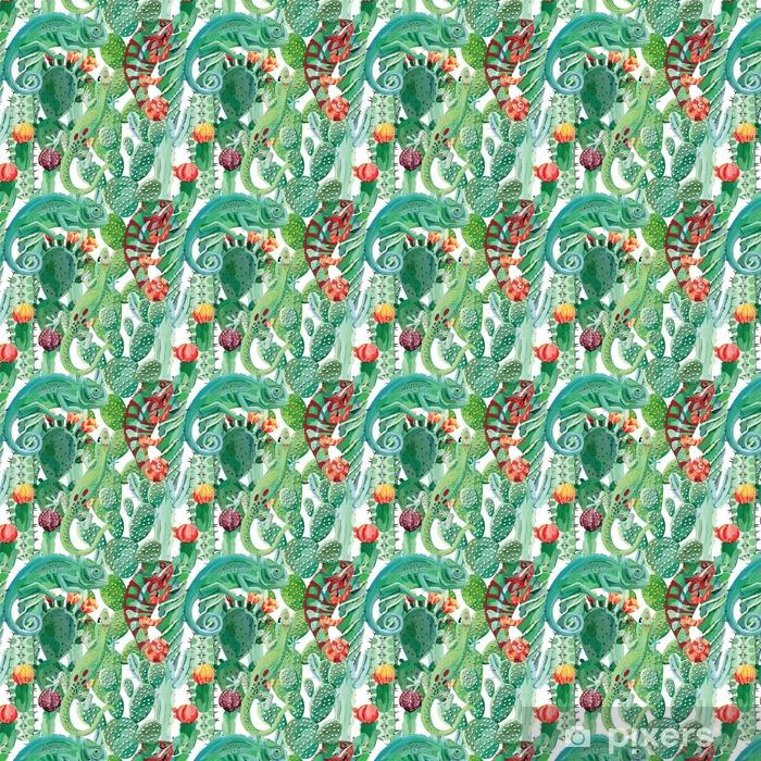 Papier peint vinyle sur mesure Caméléon et cactus fond transparent - Animaux