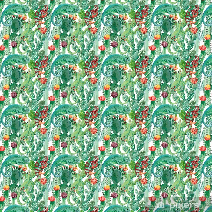 Tapeta na wymiar winylowa Kameleon i kaktus bezszwowe tło - Zwierzęta