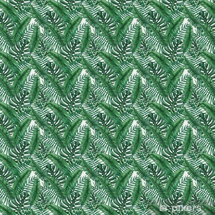 Tapeta na wymiar winylowa Akwarela tropikalnych liści palmowych szwu wzorca. ilustracji wektorowych. - Zasoby graficzne