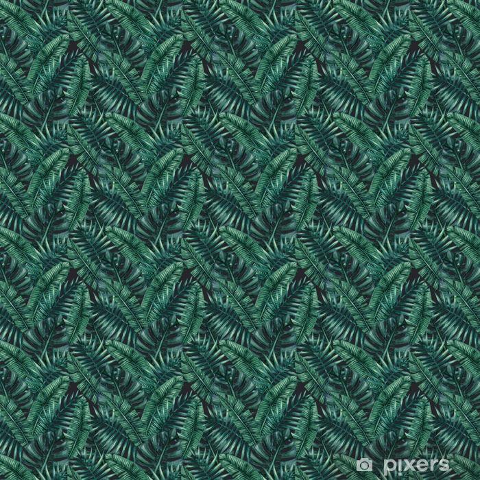 Papel pintado estándar a medida Palmera tropical de la acuarela deja patrón transparente. Ilustración del vector. - Recursos gráficos