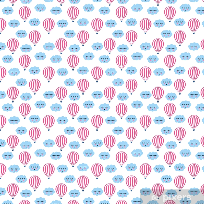 Pink hot air balloons with smiling sleeping clouds seamless pattern. Cute baby shower vector background. Child drawing style sky. Self-adhesive custom-made wallpaper - Graphic Resources
