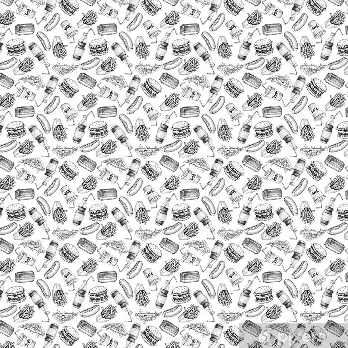 Papel pintado estándar a medida Dibujado a mano patrón de comida rápida. comida chatarra y soda bebidas backgrou - Comida