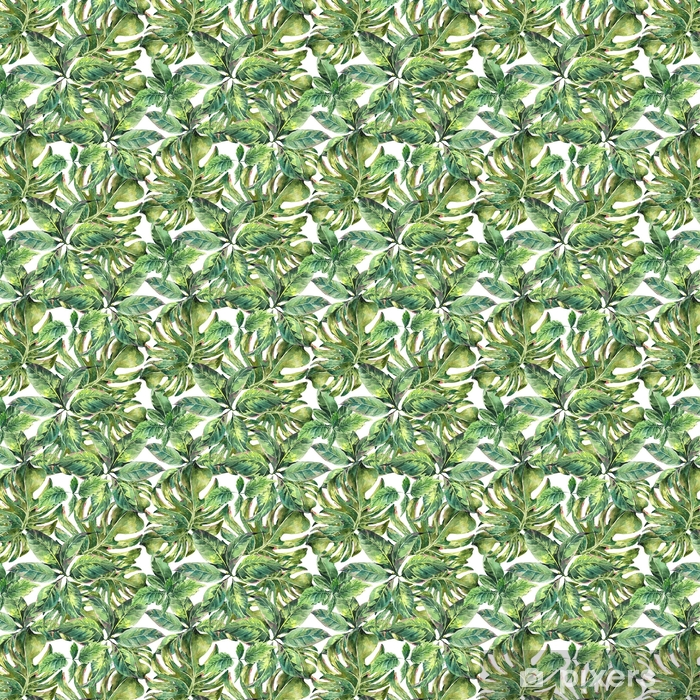 Papier peint vinyle sur mesure Été exotique aquarelle seamless pattern - Passe-temps et loisirs