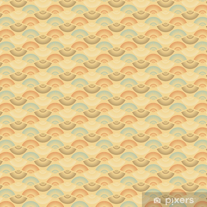 a multicolor Japanese style fan shape seamless pattern Vinyl custom-made wallpaper - Graphic Resources