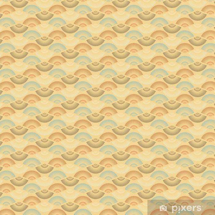 Zelfklevend behang, op maat gemaakt Een multicolor Japanse stijl waaiervorm naadloos patroon - Grafische Bronnen