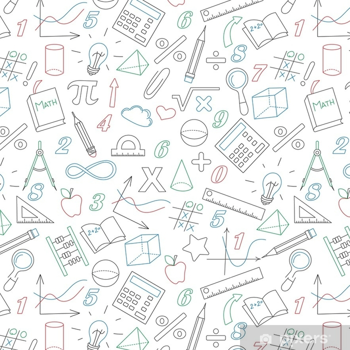 Seamless Background With Simple Icons On The Theme Of Mathematics