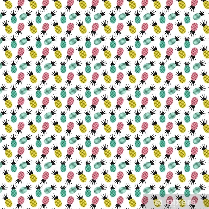 Vinyl behang, op maat gemaakt Kleurrijke schattig ananas naadloze vector patroon achtergrond afbeelding - Eten