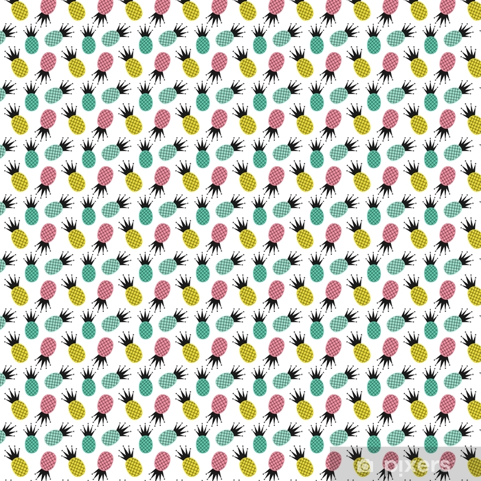 colorful cute pineapples seamless vector pattern background illustration Vinyl custom-made wallpaper - Food