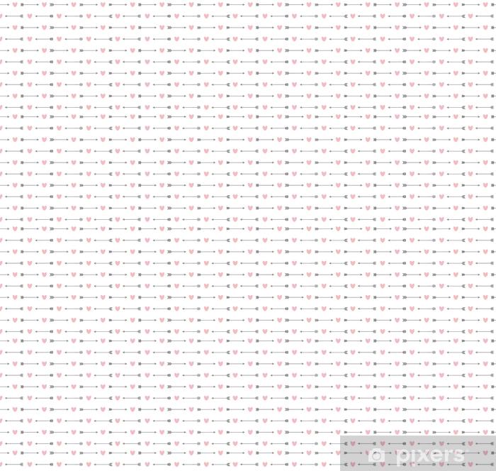 Carta da parati in vinile su misura Modello senza saldatura con frecce e cuori - Risorse Grafiche