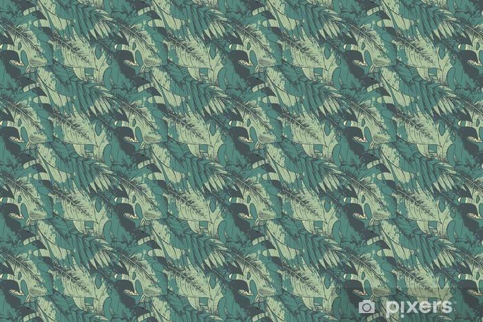 Saumaton malli vihreillä käsin vedetyillä trooppisilla kasveilla Räätälöity vinyylitapetti - Kasvit Ja Kukat