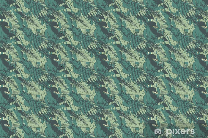 Seamless pattern with green hand drawn tropical plants Vinyl custom-made wallpaper - Plants and Flowers