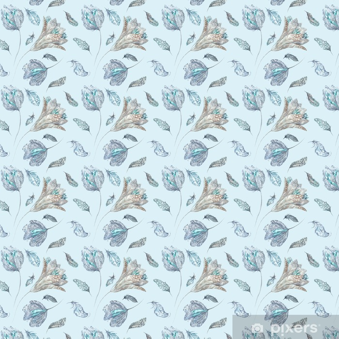 Feather Flowers Watercolor Pattern Self-adhesive custom-made wallpaper - Animals