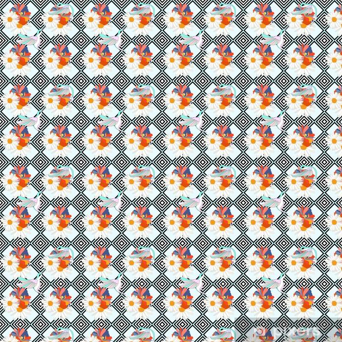 Vinyltapete nach Maß Abstrakte Darstellung der Vögel (Kolibris) auf Blumen, gestreiften Hintergrund, Mode-Design, nahtlose Muster - Texturen