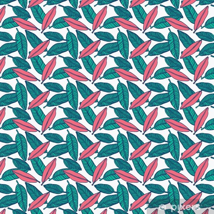 Zelfklevend behang, op maat gemaakt Naadloze tropische jungle bloemmotief achtergrond - Grafische Bronnen