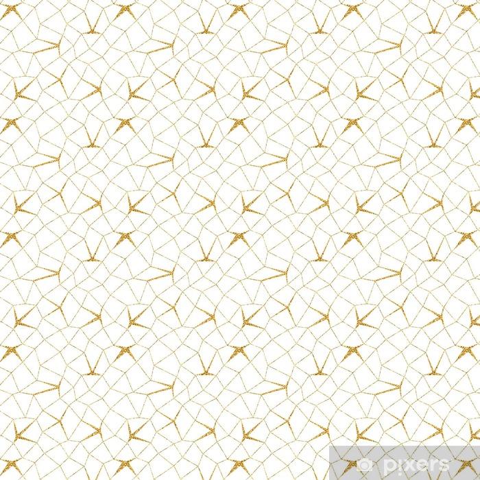 Mosaic Geometric Seamless Pattern 3d Gold Glitter White Template