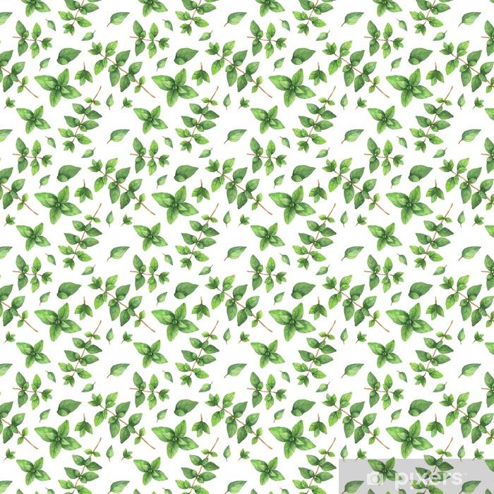Watercolor vector seamless pattern hand drawn herb oregano . Vinyl custom-made wallpaper - Food