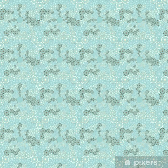Papier peint vinyle sur mesure Une vue stylisée d'une bulle de pissenlits coulent en bleu doux, ivoire et marron - Ressources graphiques