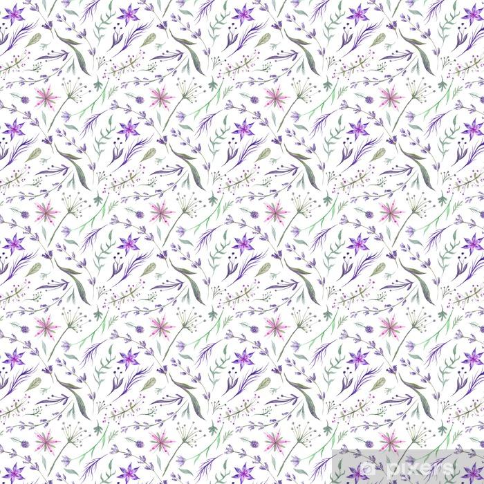 Özel Boyutlu Vinil Duvar Kağıdı Mor Renkli Lavanta ile Suluboya Bitkisel Desen - Çiçek ve bitkiler