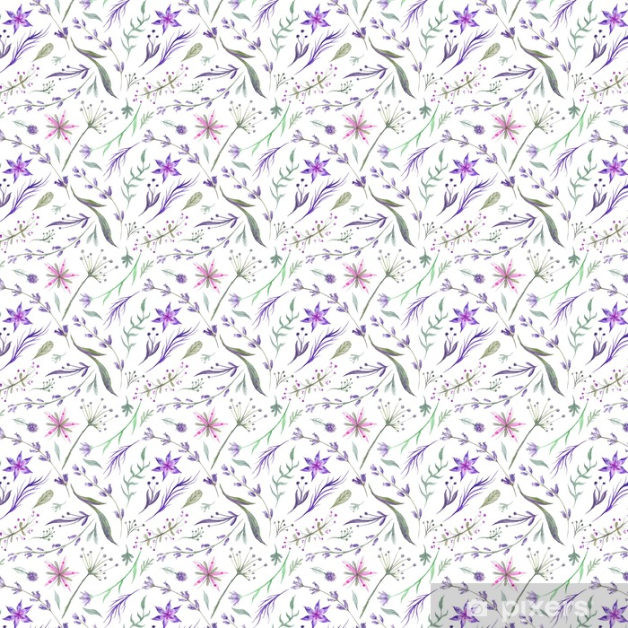 Vinyltapete Aquarell Kräuter Muster mit Lavendel in lila Farbe - Pflanzen und Blumen