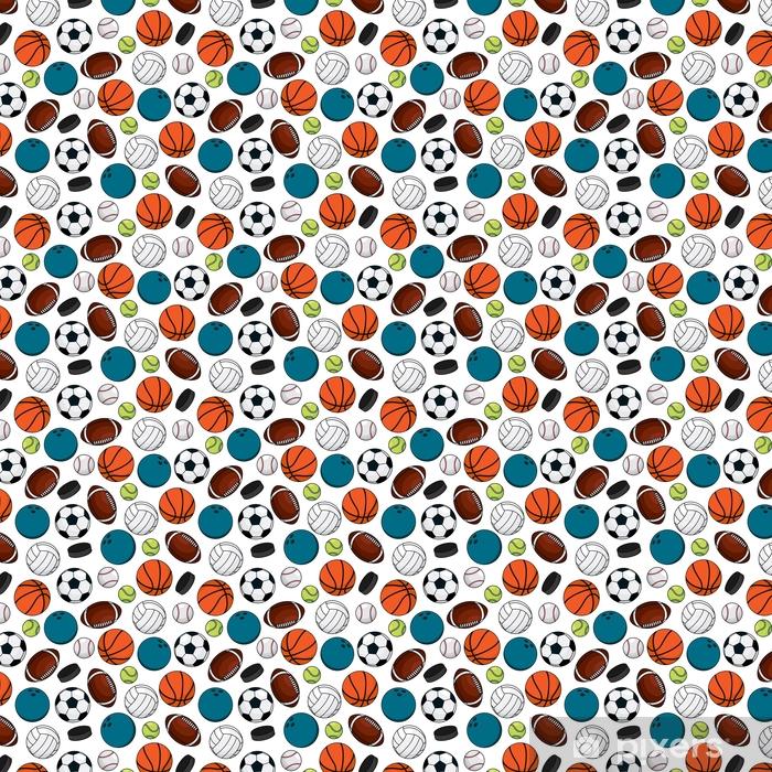 Balls and pucks for team games seamless pattern Vinyl custom-made wallpaper - Sports