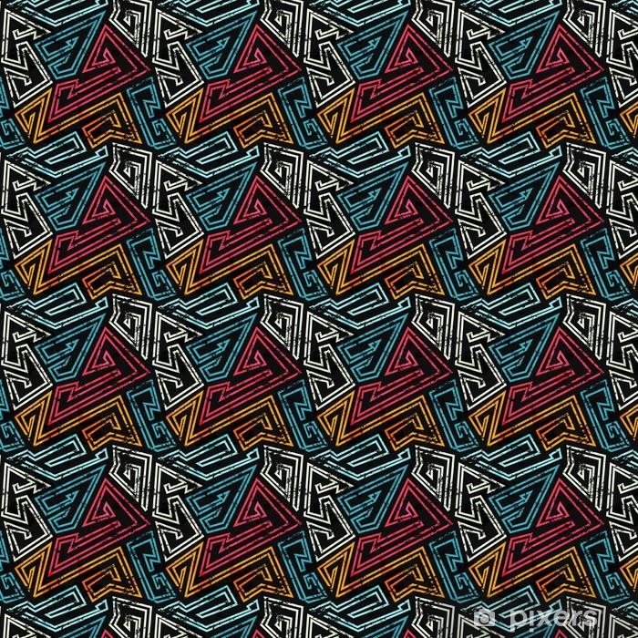 Vinyl behang, op maat gemaakt Graffiti naadloos patroon met grunge effect - Grafische Bronnen