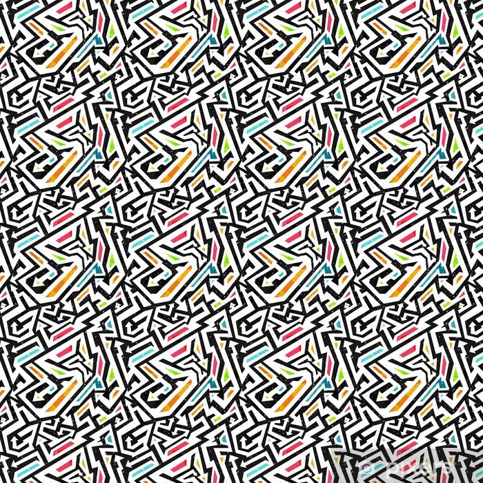 Vinyl behang, op maat gemaakt Graffiti - naadloos patroon - Grafische Bronnen