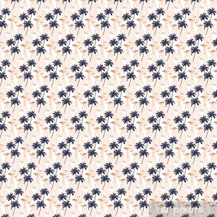 Vinyl behang, op maat gemaakt Palmbomen silhouet en blush roze flamingo op de witte achtergrond met beroertes. Vector naadloze patroon met tropische vogels en planten. - Dieren