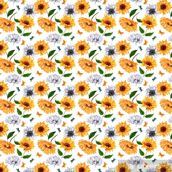 Seamless Background Pattern With Watercolor And Pencil Sunflower Wallpaper Vinyl Custom Made