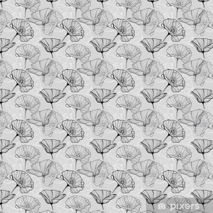 Vinyl behang, op maat gemaakt Monochrome naadloze patroon met klaprozen. Met de hand getekende bloemen achtergrond - Bloemen en planten