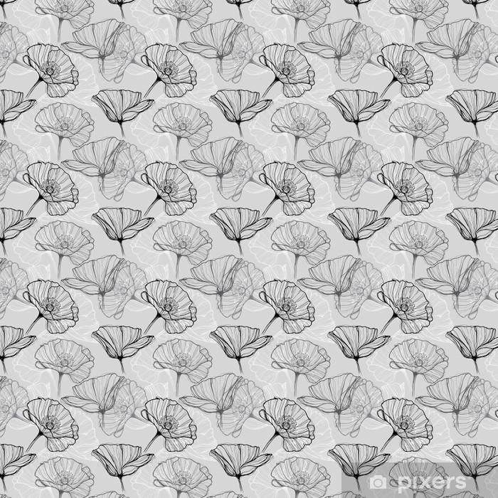 Monokrom sømløs mønster med valmuer. Håndtegnede blomster baggrund Personlige vinyltapet -