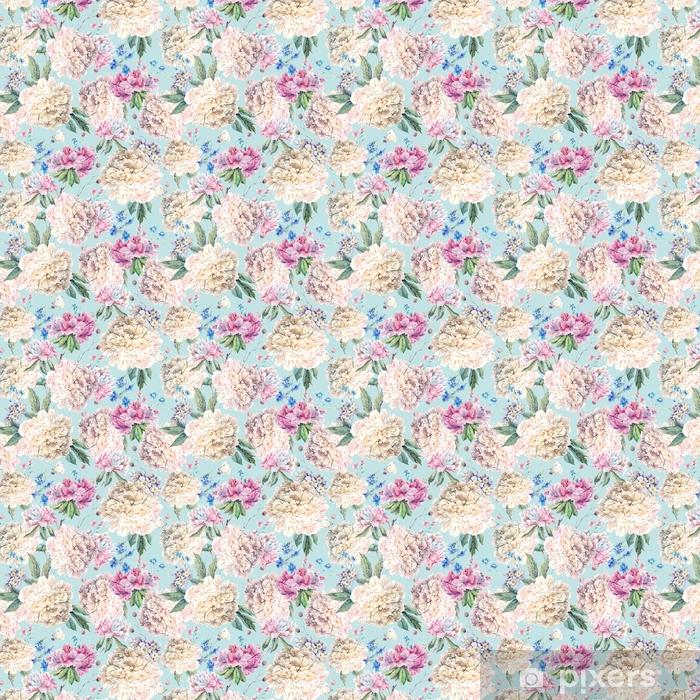 Vinyl behang, op maat gemaakt Vintage bloemenwaterverf naadloos patroon met witte pioenen - Bloemen en Planten