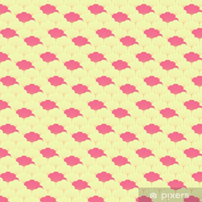 Papier peint vinyle sur mesure Une tuile sans couture de style japonais avec le modèle de feuillage exotique en rose - Ressources graphiques