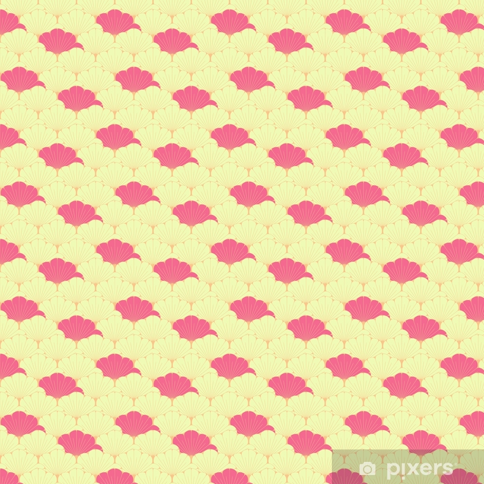 a Japanese style seamless tile with exotic foliage pattern in pink Vinyl custom-made wallpaper - Graphic Resources