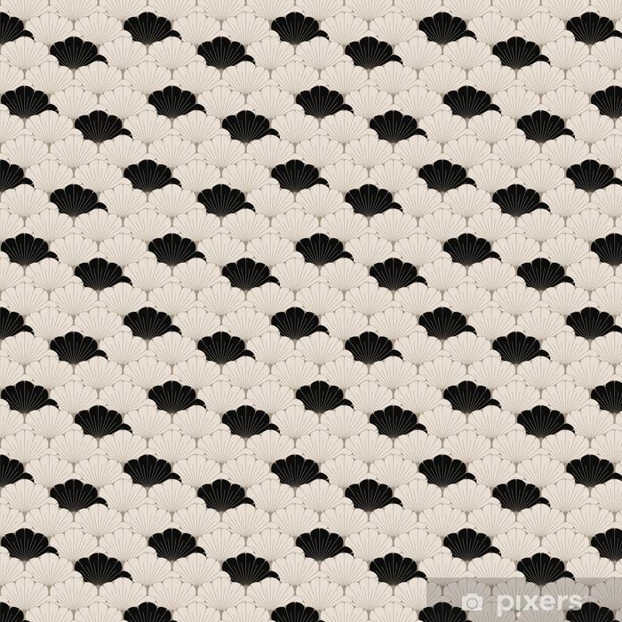 Vinyl behang, op maat gemaakt Een Japanse stijl naadloze tegel met exotisch gebladertepatroon in zacht bruin en zwart - Grafische Bronnen