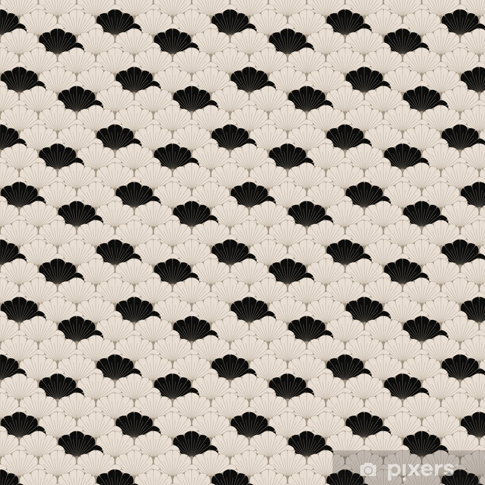a Japanese style seamless tile with exotic foliage pattern in soft brown and black Vinyl custom-made wallpaper - Graphic Resources