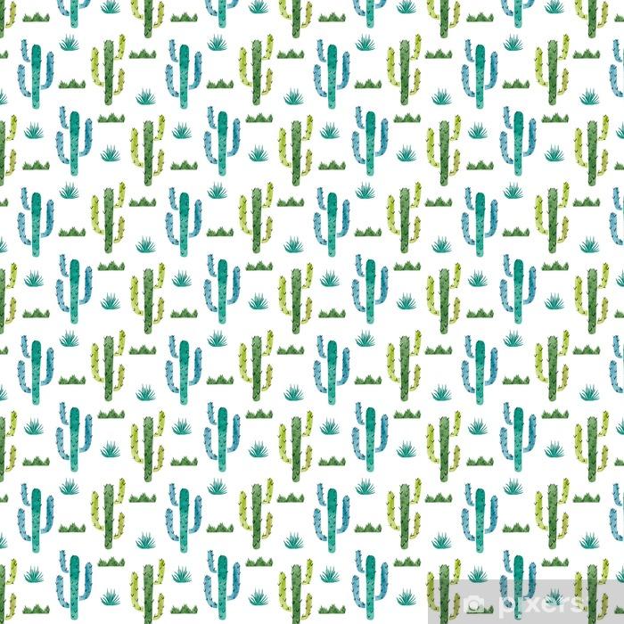 Zelfklevend behang, op maat gemaakt Watercolor cactus naadloos patroon. Vector achtergrond met groene en blauwe cactus geïsoleerd op wit. - Bloemen en Planten