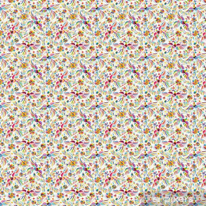 Papier peint vinyle sur mesure Broderie mexicaine seamless. motif ethnique coloré et fleuri. Les oiseaux et les fleurs fond clair. fond floral avec ornement ethnique lumineux. - Ressources graphiques