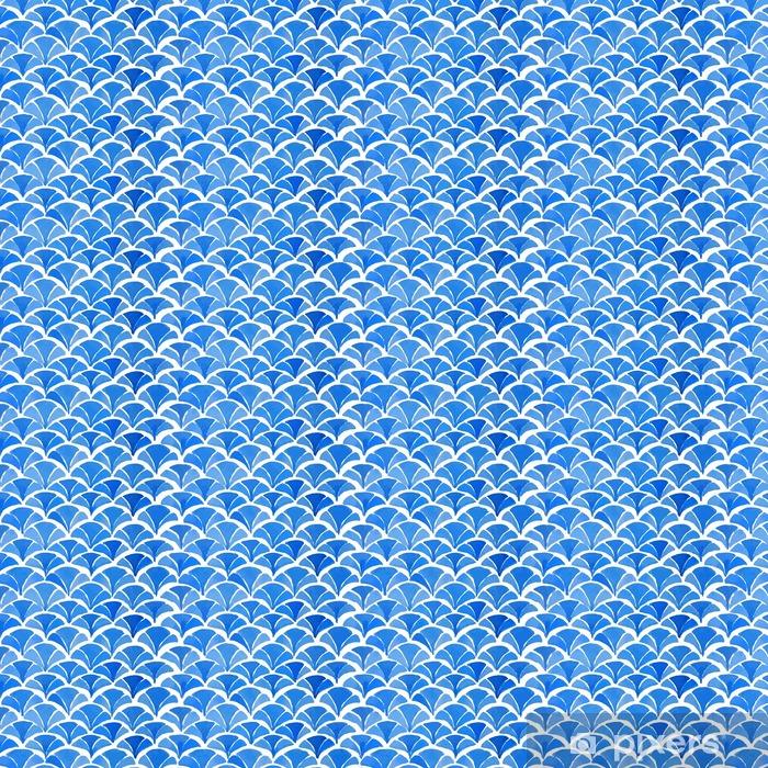 Papier peint autocollant sur mesure Aquarelle bleu motif japonais. - Ressources graphiques