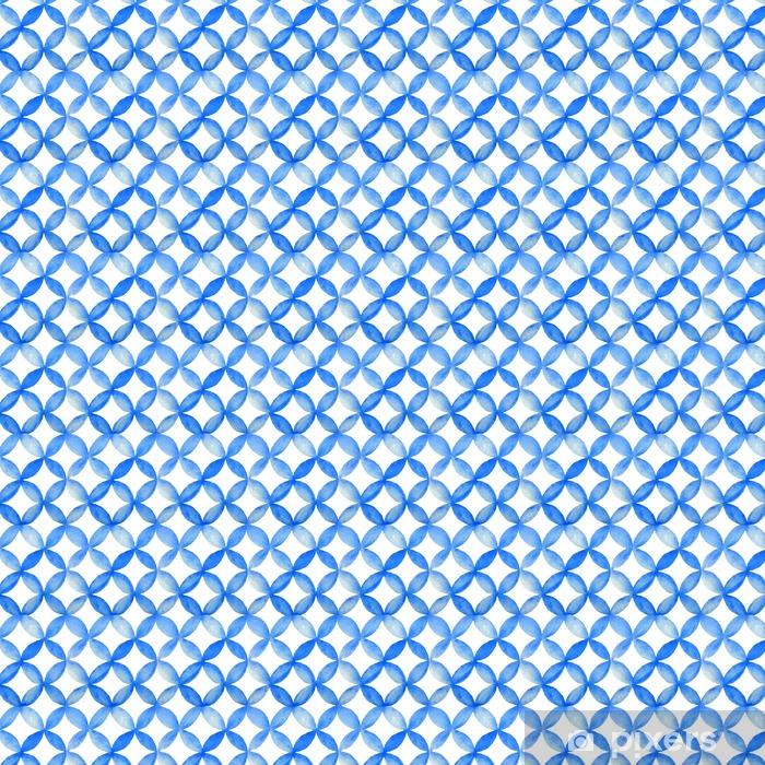 Vinyl behang, op maat gemaakt Waterverf het blauw Japanse patroon. - Grafische Bronnen
