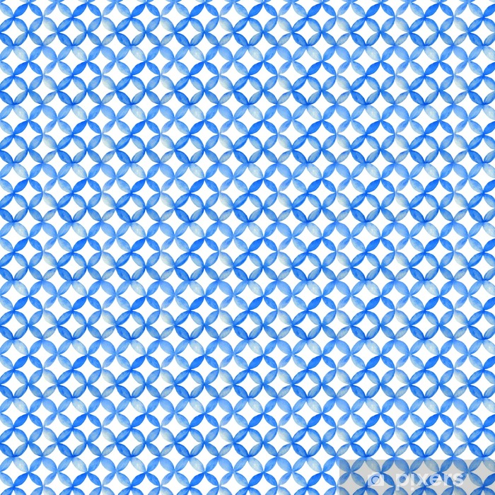 Papel pintado estándar a medida Acuarela modelo japonés azul. - Recursos gráficos