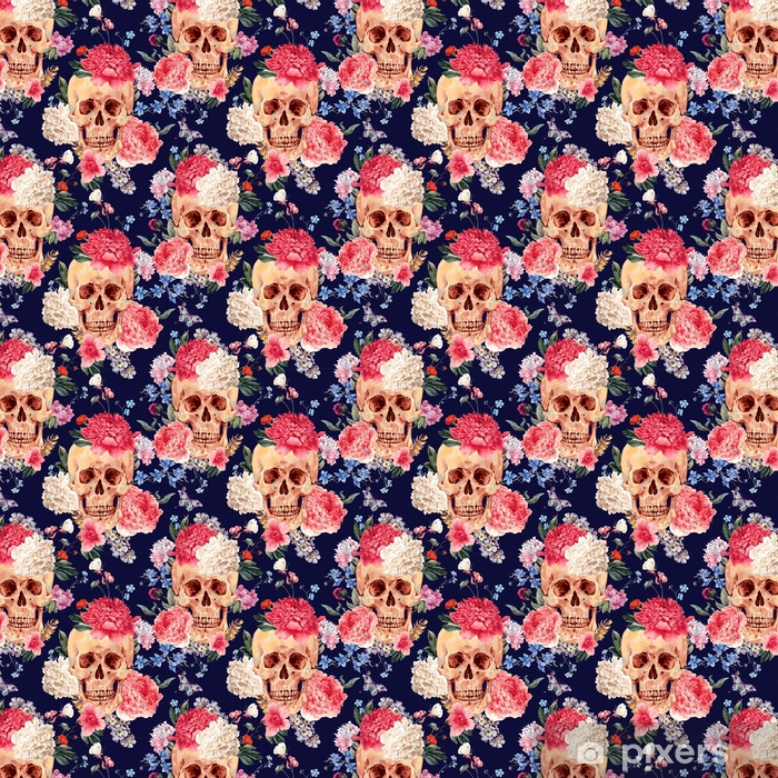 Vector seamless pattern with skull and flowers Vinyl custom-made wallpaper - Plants and Flowers