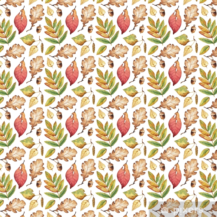 Watercolor illustrations of leaves. Seamless pattern Vinyl custom-made wallpaper - Plants and Flowers