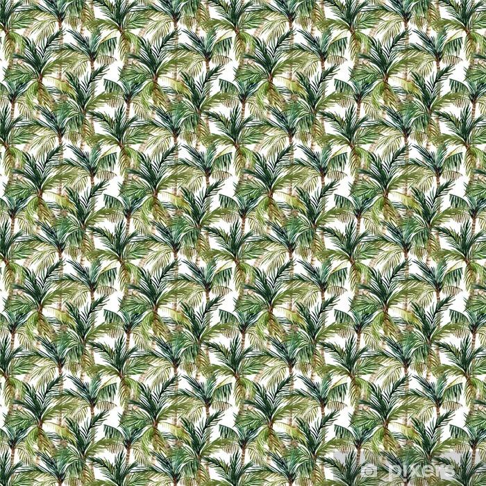 Zelfklevend behang, op maat gemaakt Watercolor palmboom naadloos patroon - Landschappen