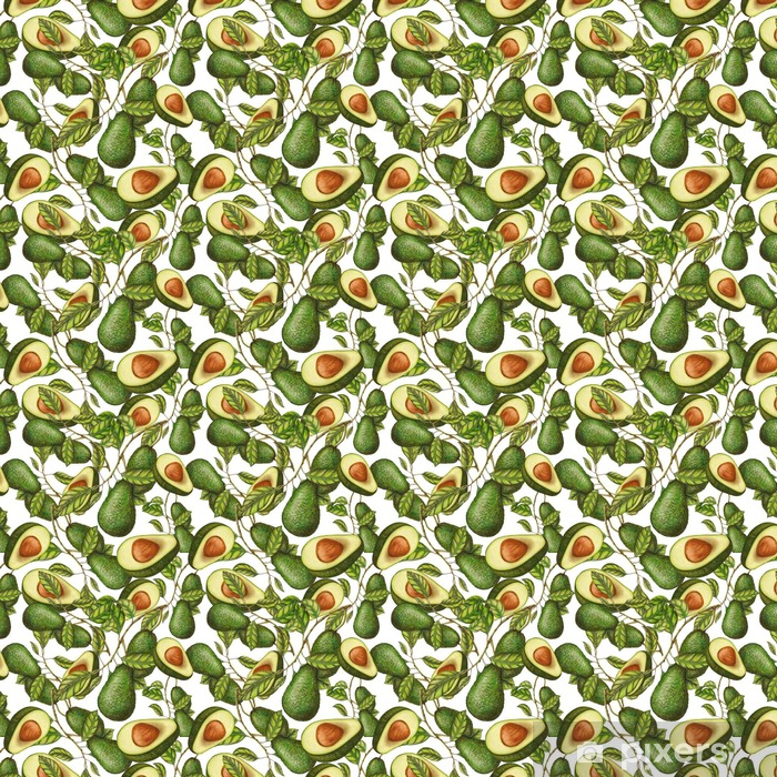 Vinyltapete nach Maß Nahtlose Muster von Hand gezeichnet Avocados - Essen