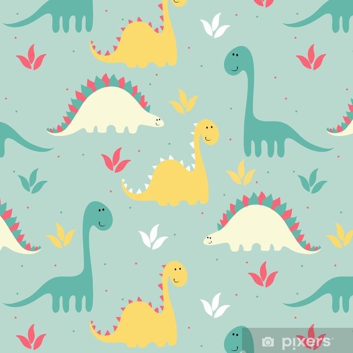 vector art seamless pattern with Cartoon dinosaur ...