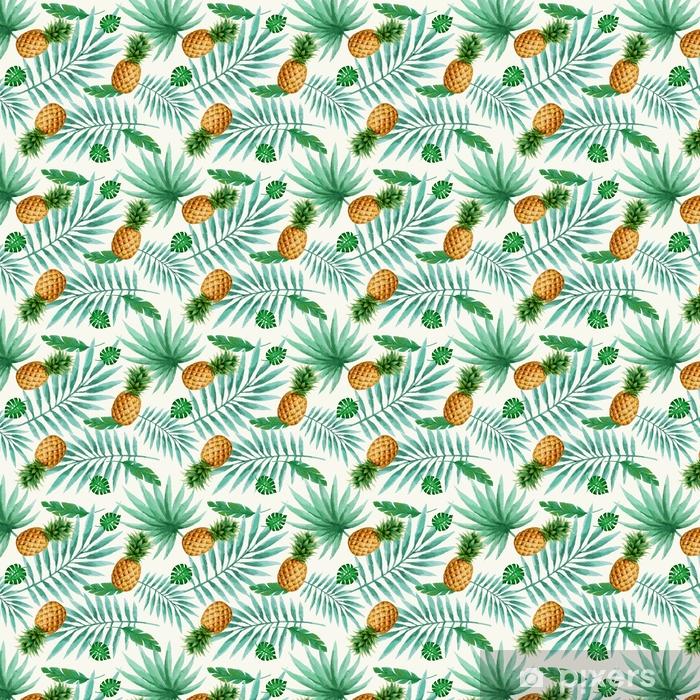 Selbstklebende Tapete nach Maß Nahtloses Muster der exotischen Früchte, Aquarell. - Pflanzen und Blumen