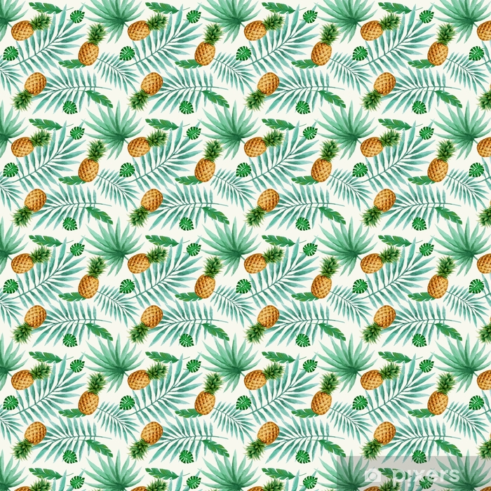 Exotic fruits seamless pattern, watercolor. Vinyl custom-made wallpaper - Plants and Flowers