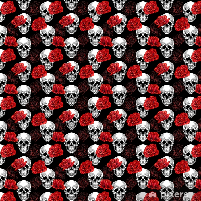 Skull And Red Roses On Black Background Vector Seamless Pattern Wallpaper Vinyl Custom Made