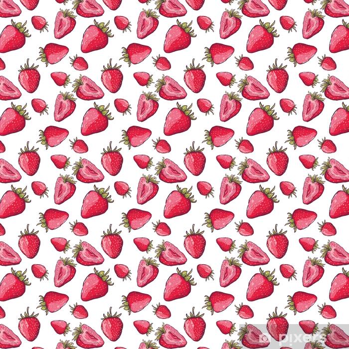 89d0a12345 Carta da parati a motivi Vector seamless con fragole rosse. mano disegnare  sfondo colorato estate con bacche. design per tessuto, stampa tessile, ...