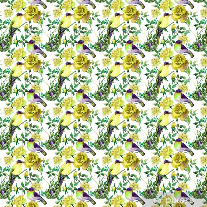 Özel Boyutlu Vinil Duvar Kağıdı Sarı gül Suluboya kuşlar - Çiçek ve bitkiler